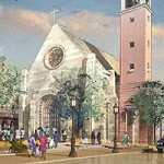 The new design for the USC Catholic Community Center includes a European limestone church that will seat up to 350.