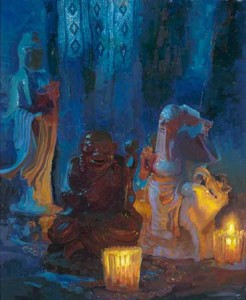"""Peter Adams' Painting, """"Two Lohans and Kwan Yin"""" was exhibited at the """"15th Annual National Juried Exhibition of Traditional Oils"""""""