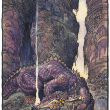 """American Legacy Fine Arts presents """"Fafnir Sleeps"""" a painting by William Stout"""