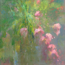 """American Legacy Fine Arts presents """"Floral Abstract-Harmony in Pink and Green"""" a painting by David Gallup."""