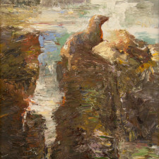 """American Legacy Fine Arts presents """"Sea Lion's Perch"""" a painting by David Gallup."""