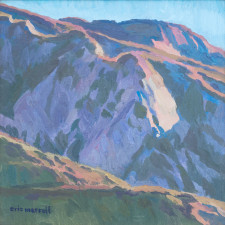 """American Legacy Fine Arts presents """"Evening Crumbles into the Hills; Angeles National Forest, Hwy 2, Near Red Box"""" a painting by Eric Merrell."""