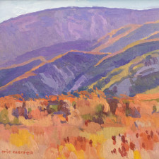 """American Legacy Fine Arts presents """"The Hills Singed by Summer; Highway 39, Angeles National Forest"""" a painting by Eric Merrell."""