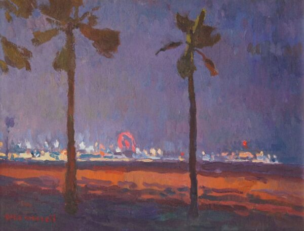 """American Legacy Fine Arts presents """"Santa Monica Pier Nocturne"""" a painting by Eric Merrell."""