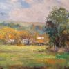 """American Legacy Fine Arts presents """"Farm Houses in Morning Mist; Las Virgenes Canyon"""" a painting by George Gallo."""