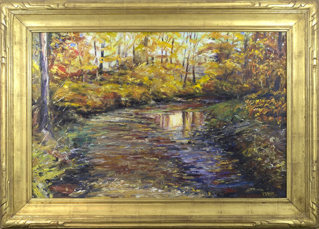 """American Legacy Fine Arts presents """"Reflections New Hope Pennsylvania"""" a painting by George Gallo."""