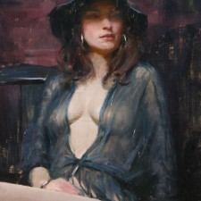 """American Legacy Fine Arts presents """"Ava in Sheer Blue"""" a painting by Jeremy Lipking."""