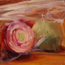 """American Legacy Fine Arts presents """"Ziplocked Onions"""" a painting by Jean LeGassick."""