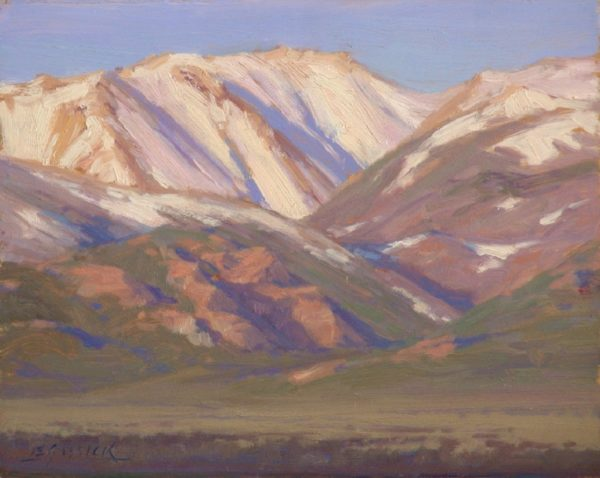 """American Legacy Fine Arts presents """"First Light Sweetwater Mountains"""" a painting by Jean LeGassick."""