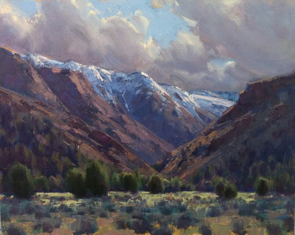 """American Legacy Fine Arts presents """"Clearing Storm, Cedarville California"""" a painting by Jean LeGassick."""