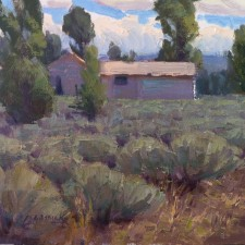 """American Legacy Fine Arts presents """"Cabin in a Sea of Sage; Jackson Hole, Wyoming"""" a painting by Jean LeGassick."""