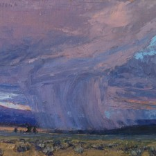 """American Legacy Fine Arts presents """"Valley Squall; Surprise Valley, California"""" a painting by Jean LeGassick."""