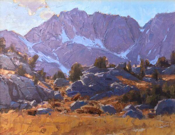 "American Legacy Fine Arts presents ""Along the Mono Pass Trail; Sierra Nevada Range, Near Bishop California"" a painting by Jean LeGassick."
