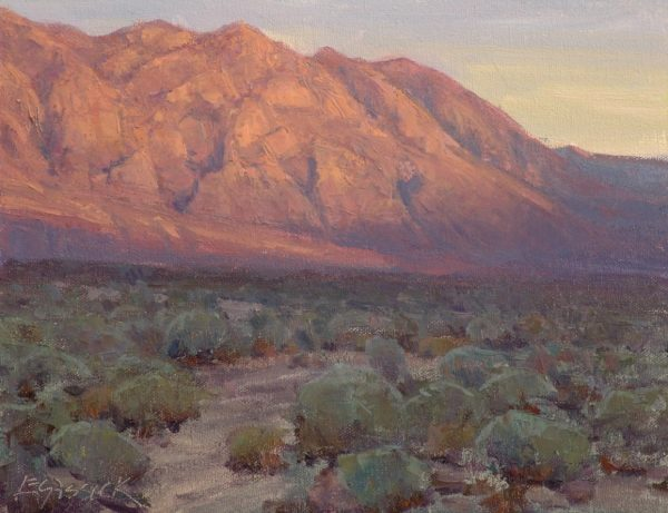 """American Legacy Fine Arts presents """"First Light, Wheeler Crest"""" a painting by Jean LeGassick."""