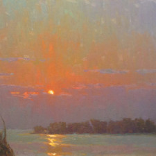 """American Legacy Fine Arts presents """"Evening Bloom"""" a painting by Jennifer Moses."""