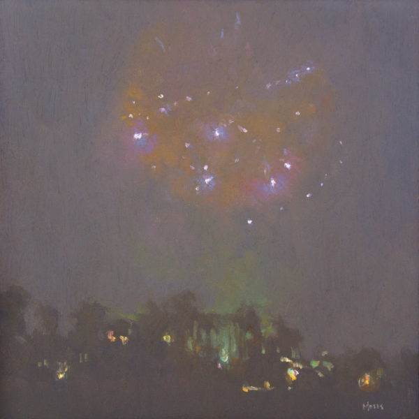 """American Legacy Fine Arts presents """"Nocturne in Blue & Orange"""" a painting by Jennifer Moses."""