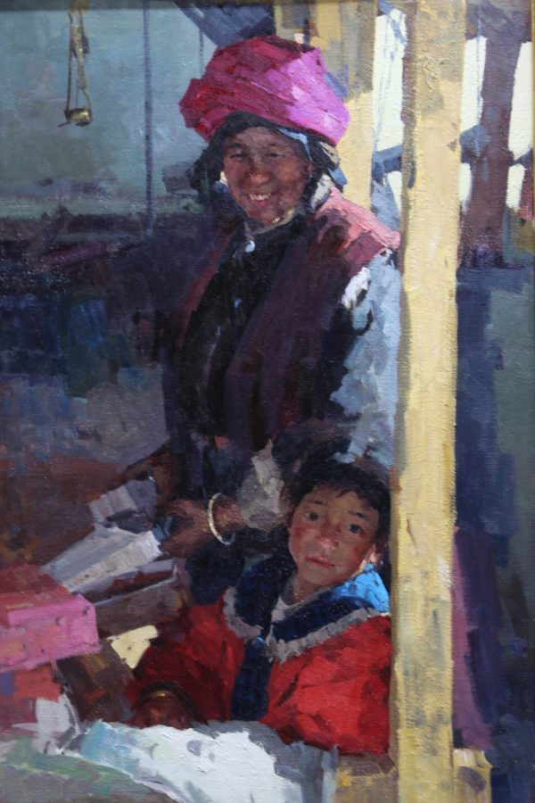 """American Legacy Fine Arts presents """"Grandmother and Granddaughter at Market"""" a painting by Jove Wang."""