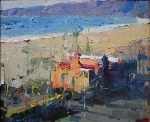 "American Legacy Fine Arts presents ""Sunset Jonathan Beach Club"" a painting by Jove Wang."