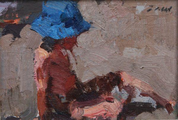 "American Legacy Fine Arts presents ""Blue Sun Bonnet"" a painting by Jove Wang."