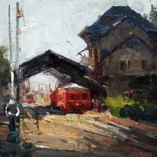"American Legacy Fine Arts presents ""La Gare, Chamonix"" a painting by Jove Wang."