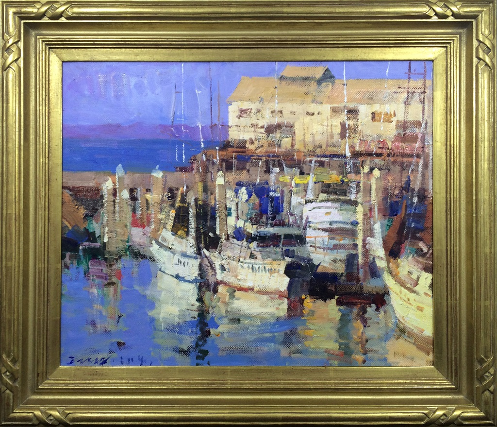 """American Legacy Fine Arts presents """"Cannery Row, Monterey"""" a painting by Jove Wang."""