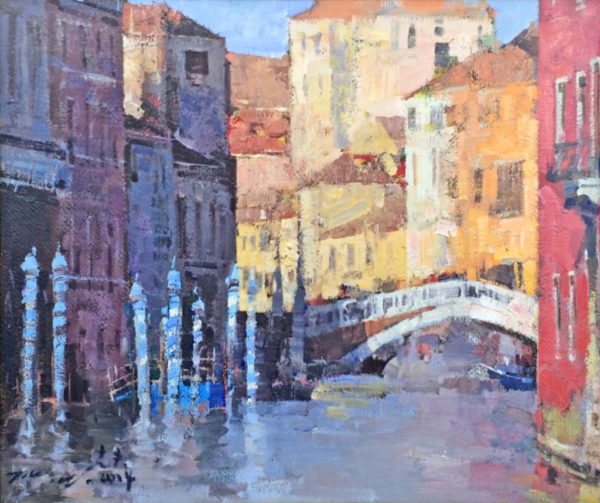 """American Legacy Fine Arts presents """"Hidden Canals, Venice"""" a painting by Jove Wang."""