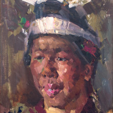 """American Legacy Fine Arts presents """"Guezhou Girl, South China"""" a painting by Jove Wang."""
