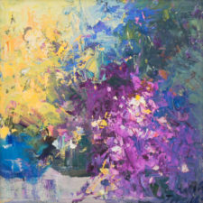 """American Legacy Fine Arts presents """"Turquoise Vase"""" a painting by Jove Wang."""