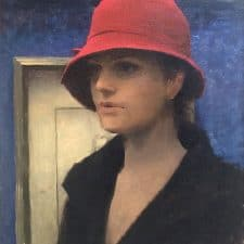 """American Legacy Fine Arts presents """"Girl with a Red Hat"""" a painting by Jeremy Lipking."""