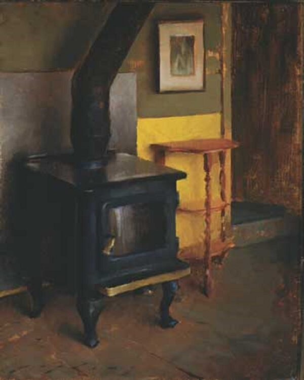 """American Legacy Fine Arts presents """"Interior with Stove; The Artist's Cabin Studio"""" a painting by Jeremy Lipking."""