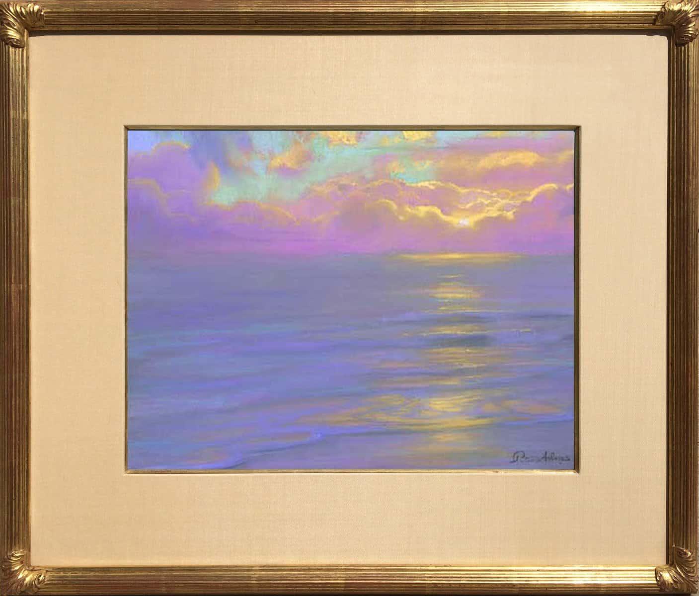"American Legacy Fine Arts presents ""Lavender Horizon at Westward Beach; Malibu"" a painting by Peter Adams."