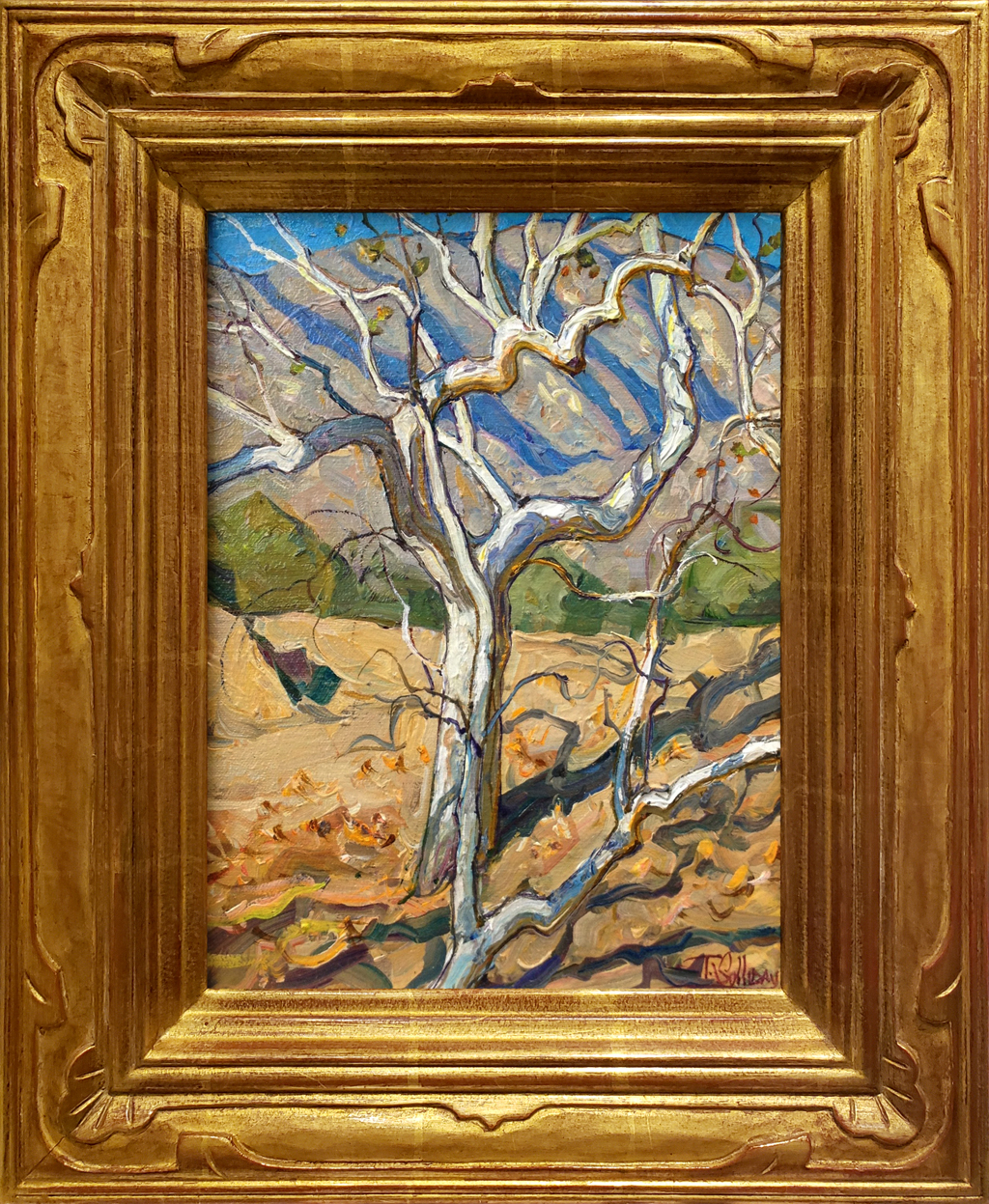 """American Legacy Fine Arts presents """"Sycamore Hillside"""" a painting by Tim Solliday."""