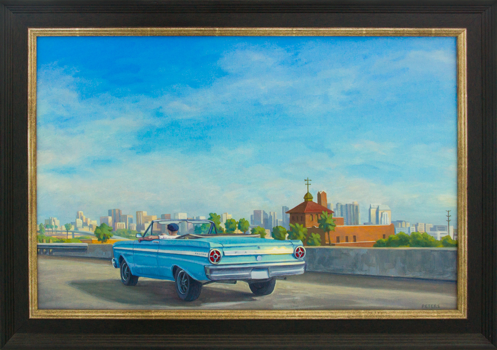 """American Legacy Fine Arts presents """"Blue Falcon"""" a painting by Tony Peters."""