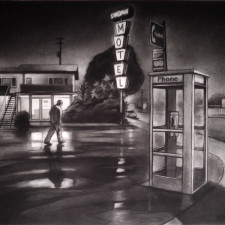 """American Legacy Fine Arts presents """"Sandman; Across from Randy's Donuts"""" a painting by Tony Peters."""