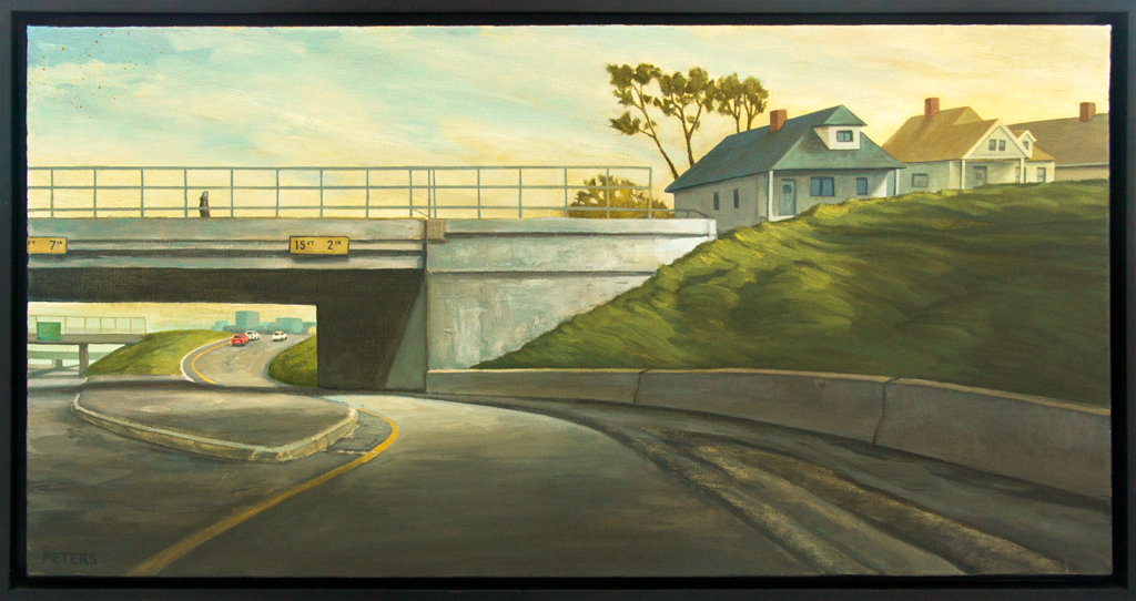 """American Legacy Fine Arts presents """"Freeway Exit"""" a painting by Tony Peters."""