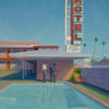 """American Legacy Fine Arts presents """"Motel Pool Cleaner"""" a painting by Tony Peters."""