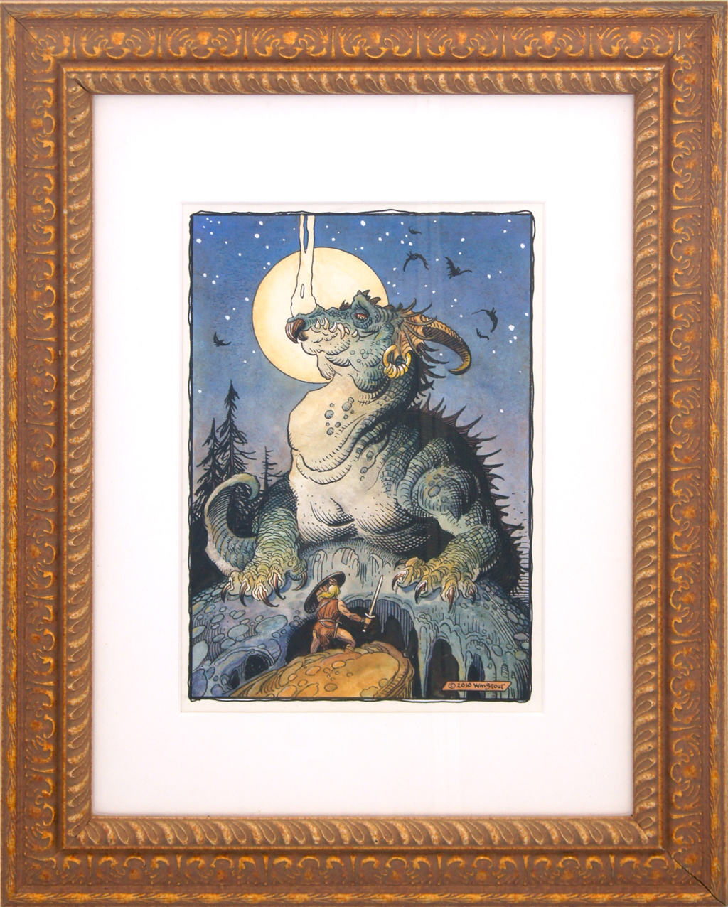 """American Legacy Fine Arts presents """"Siegfried and Fafnir"""" a painting by William Stout"""