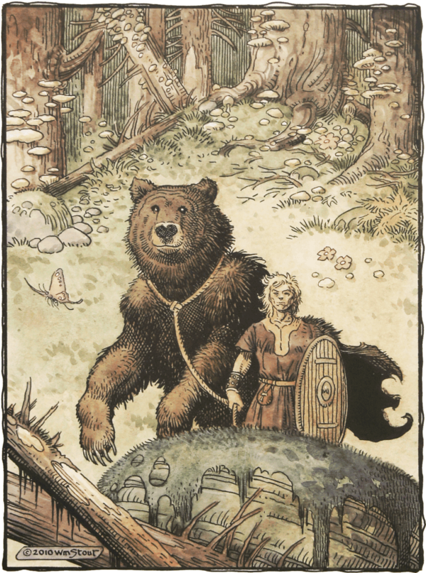 """American Legacy Fine Arts presents """"Siegfried and the Bear"""" a painting by William Stout."""