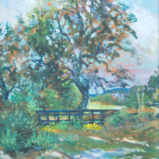 """American Legacy Fine Arts presents """"Dry Gully Bridge"""" a painting by William Stout."""
