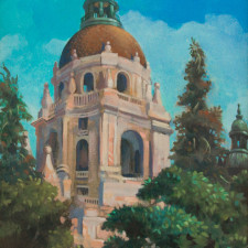 """American Legacy Fine Arts presents """"Pasadena City Hall"""" a painting by William Stout."""