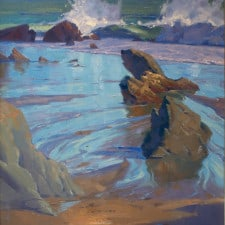 """American Legacy Fine Arts presents """"Wind and Sand at Leo Carrillo Beach"""" a painting by Alexey Steele."""