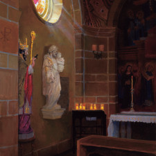 """American Legacy Fine Arts presents """"Sources of Light - St. Andrews Catholic Church, Pasadena"""" a painting by Peter Adams."""