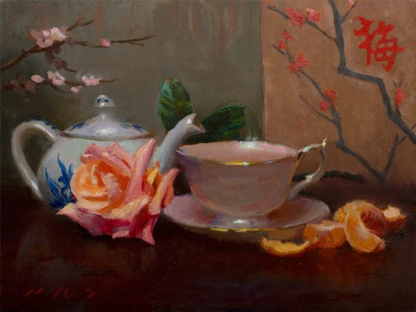 """American Legacy Fine Arts presents """"Tea and Tangerines"""" a painting by Tony Pro."""