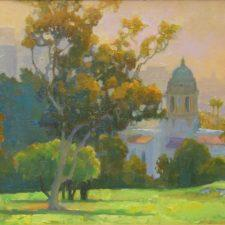American Legacy Fine Arts presents Hazy Sunrise over El Rodeo Tower a painting by Peter Adams
