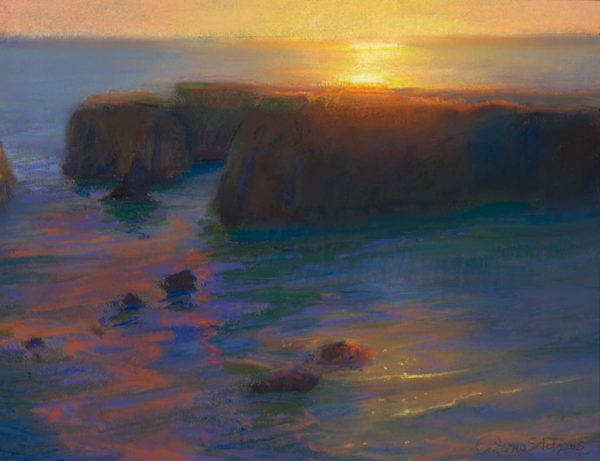 """American Legacy Fine Arts presents """"Late Afternoon Glare Over the Headlands, Mendocino California"""" a painting by Peter Adams"""