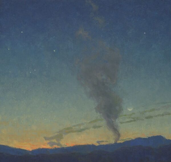 """American Legacy Fine Arts presents """"Evening Pillar"""" a painting by Jennifer Moses."""