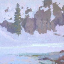 """American Legacy Fine Arts presents """"Voice of Many Waters III ; Mt. Shasta, CA"""" a painting by Daniel W. Pinkham."""