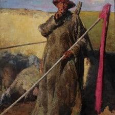 "American Legacy Fine Arts presents ""Mongolian Shepherd"" a painting by Jove Wang."
