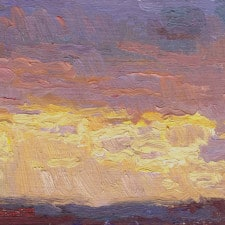 """American Legacy Fine Arts presents """"Cloudy Sunset over the Pacific Ocean from Monterey Park"""" a painting by Eric Merrell"""