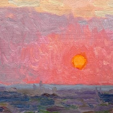 """American Legacy Fine Arts presents """"Blazing Orb; Sunset over the Pacific Ocean from Monterey Park"""" a painting by Eric Merrell."""